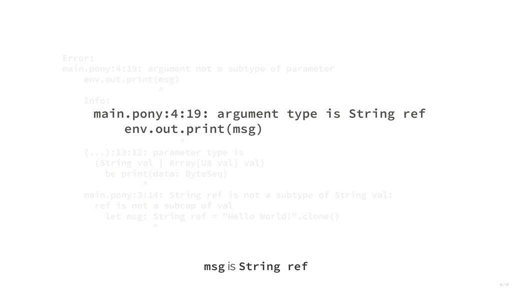 main.pony:4:19: argument type is String ref env...