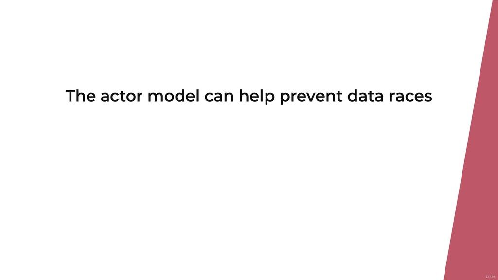 The actor model can help prevent data races 12/...