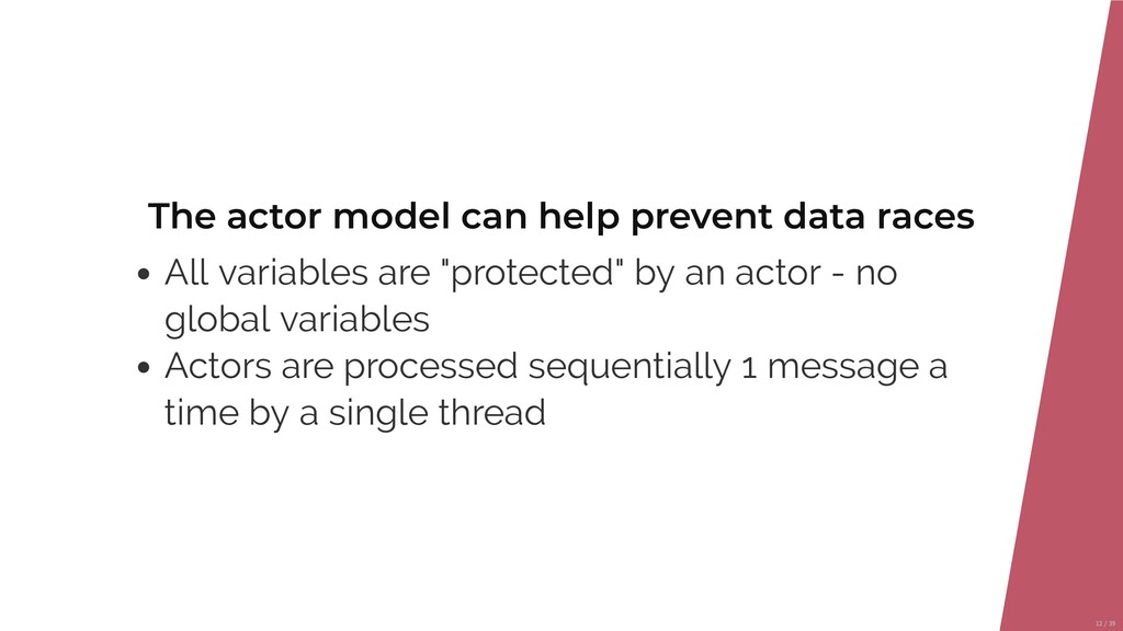 The actor model can help prevent data races All...