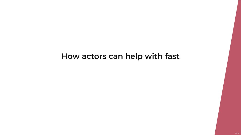 How actors can help with fast 15/39