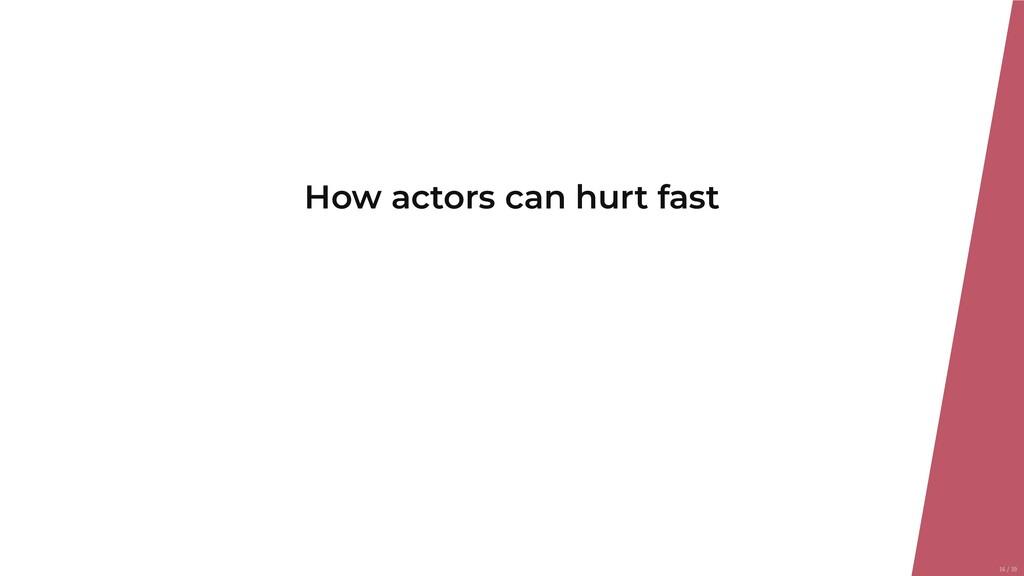 How actors can hurt fast 16/39