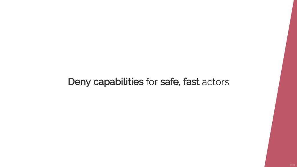 Deny capabilities for safe, fast actors 17/39