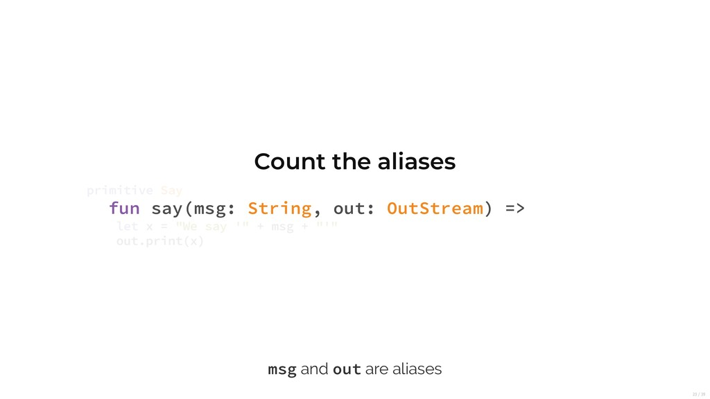 Count the aliases fun say(msg: String, out: Out...