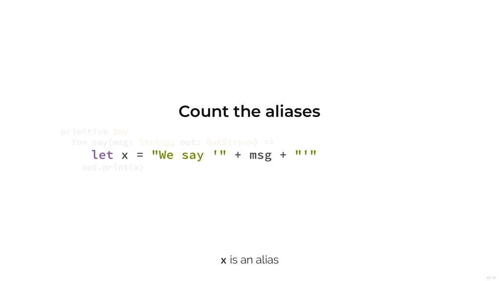 """Count the aliases let x = """"We say '"""" + msg + """"'..."""