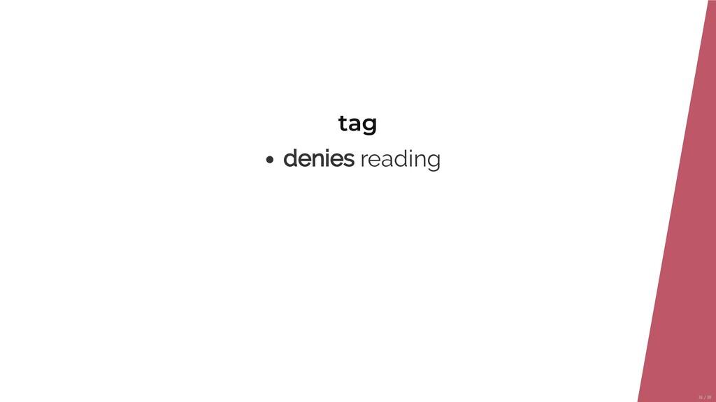 tag denies reading 31/39