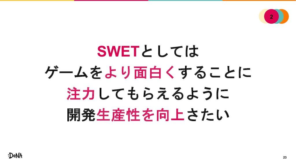 23 SWETとしては ゲームをより面白くすることに 注力してもらえるように 開発生産性を向上...