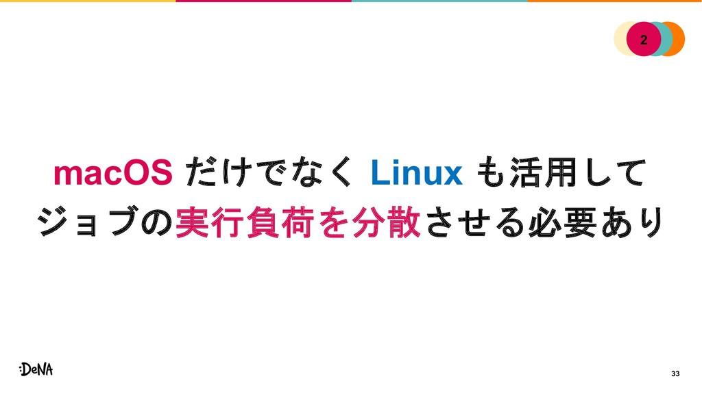 33 macOS だけでなく Linux も活用して ジョブの実行負荷を分散させる必要あり 1...
