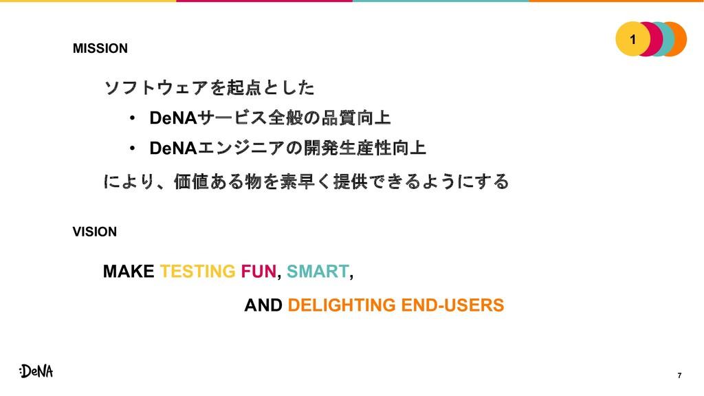 7 MISSION ソフトウェアを起点とした • DeNAサービス全般の品質向上 • DeNA...