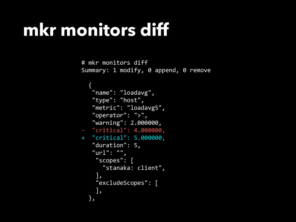 mkr monitors diff # mkr monitors diff  Summ...