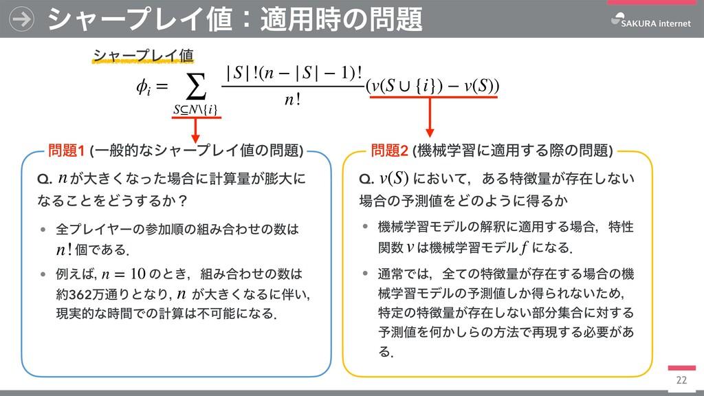 γϟʔϓϨΠɿద༻ͷ γϟʔϓϨΠ ϕi = ∑ S⊆N\{i}  S !(n − ...