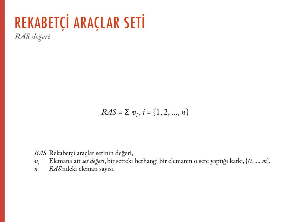 RAS = Σ vi , i = {1, 2, ..., n} RAS Rekabetçi a...
