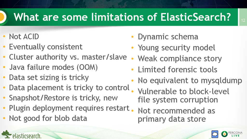 What are some limitations of ElasticSearch? • N...