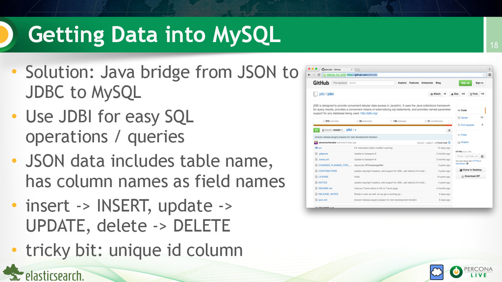 Getting Data into MySQL • Solution: Java bridge...