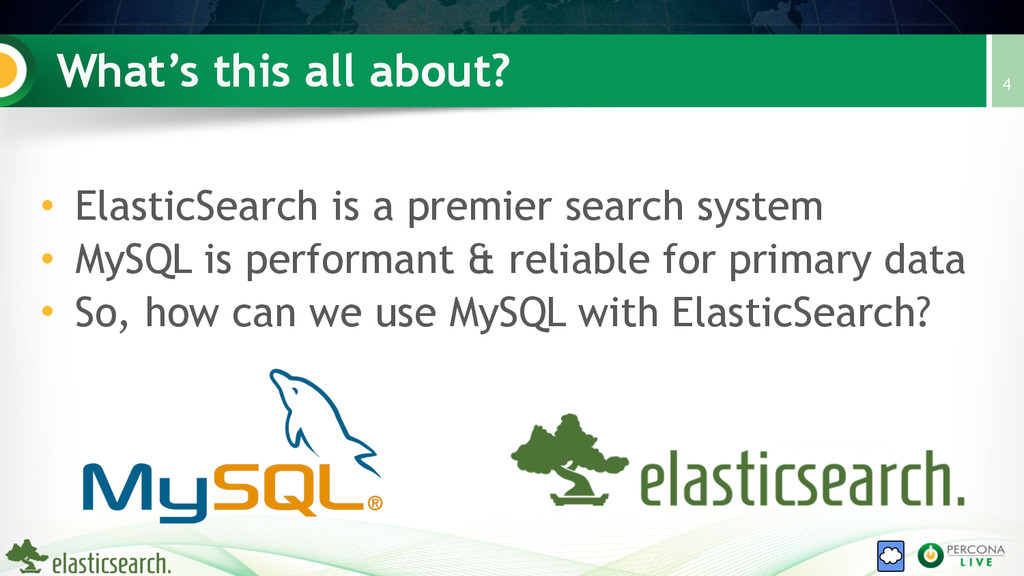 What's this all about? • ElasticSearch is a pre...
