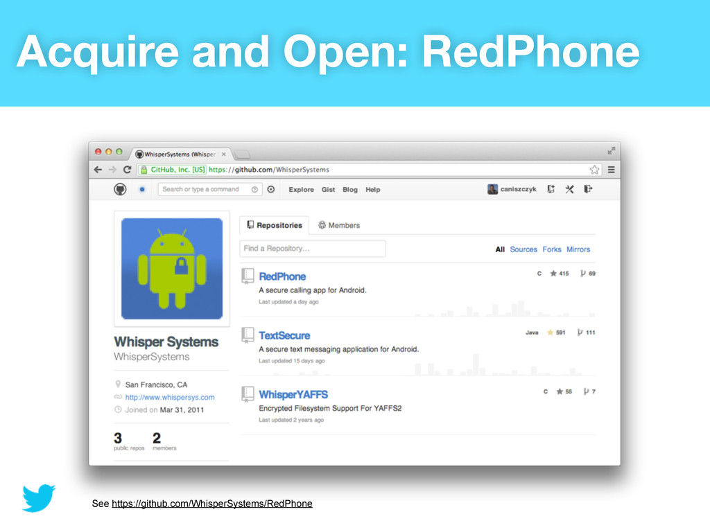 Acquire and Open: RedPhone See https://github.c...