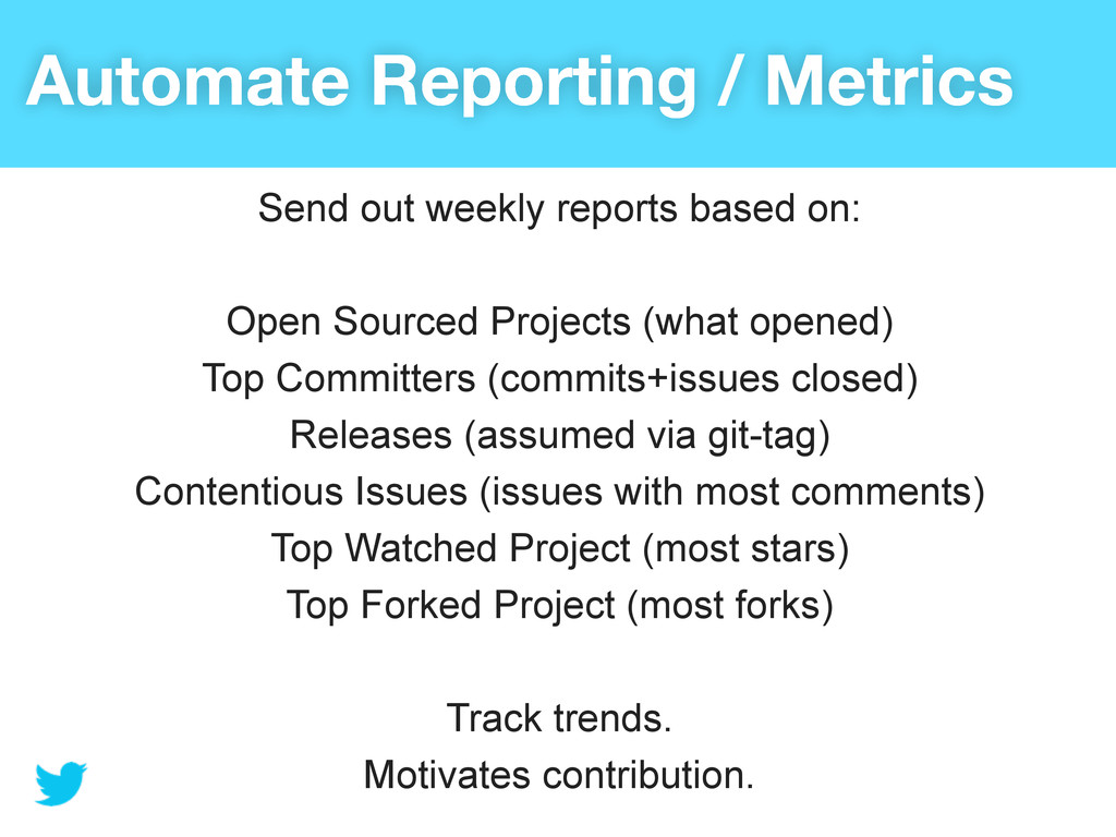 Automate Reporting / Metrics Send out weekly re...