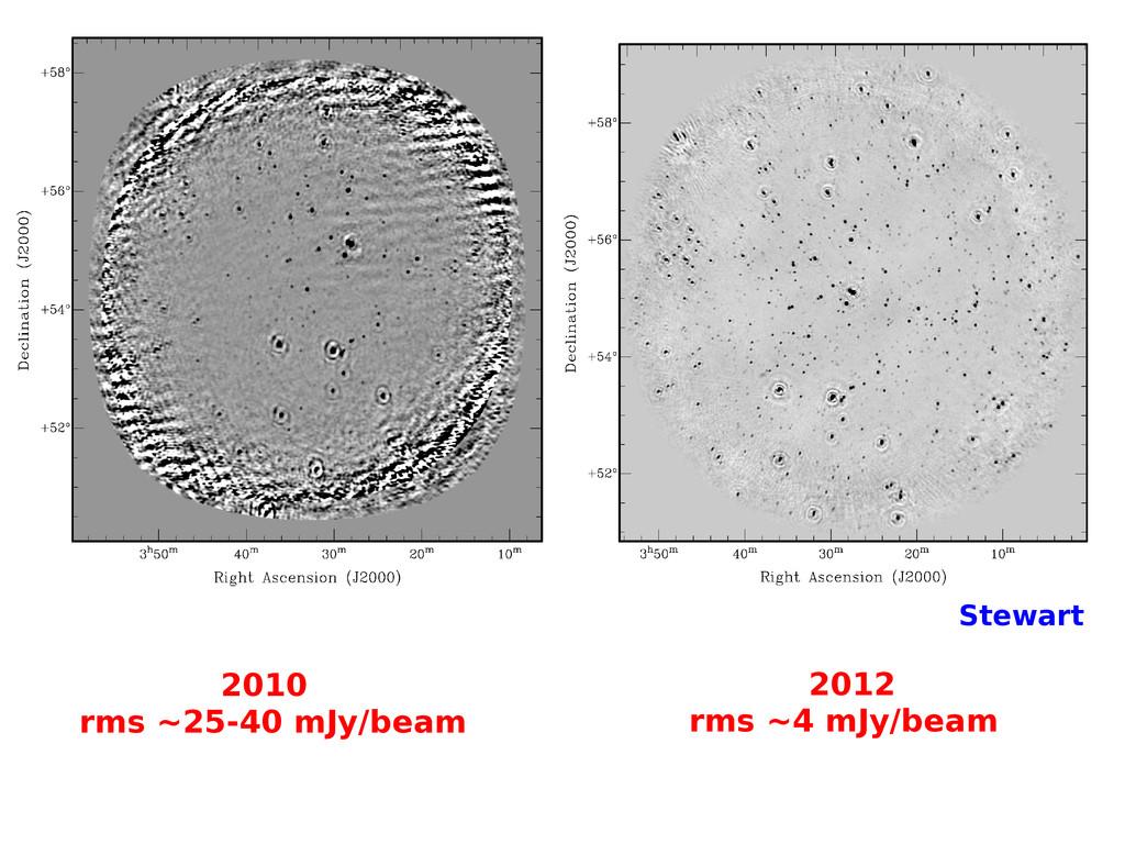 Stewart 2010 rms ~25-40 mJy/beam 2012 rms ~4 mJ...