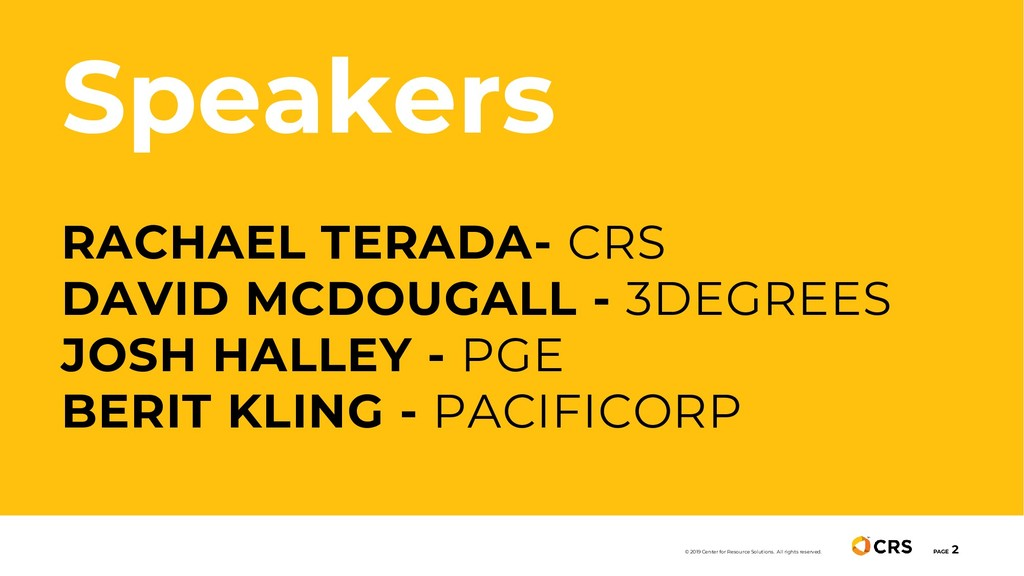 Speakers RACHAEL TERADA- CRS DAVID MCDOUGALL - ...