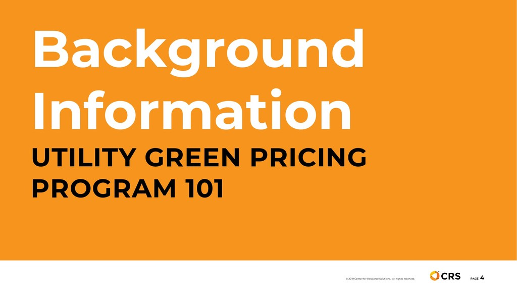Background Information UTILITY GREEN PRICING PR...