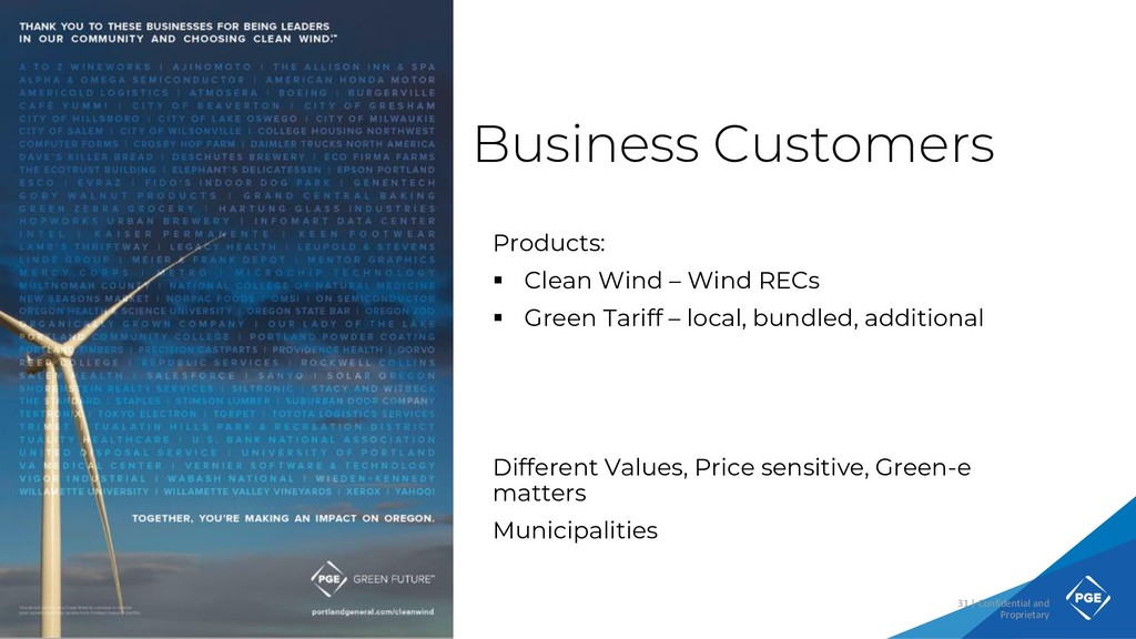 Business Customers Products: ▪ Clean Wind – Win...