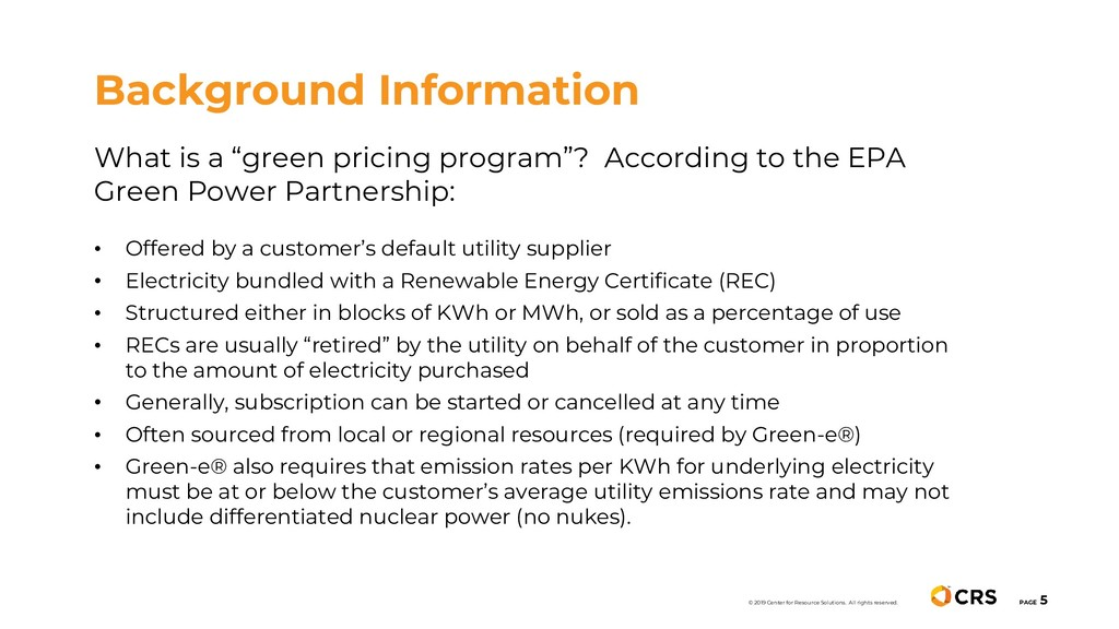 "What is a ""green pricing program""? According to..."