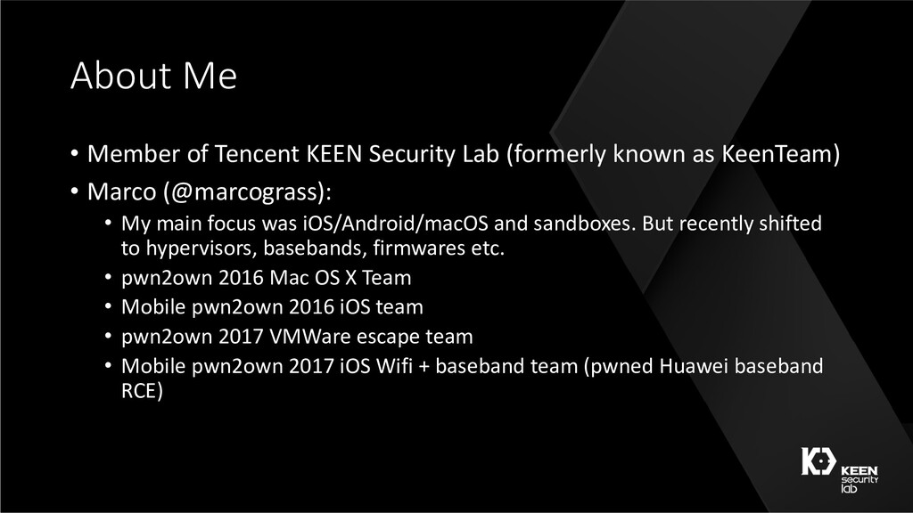About Me • Member of Tencent KEEN Security Lab ...