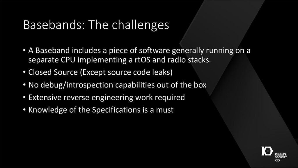 Basebands: The challenges • A Baseband includes...