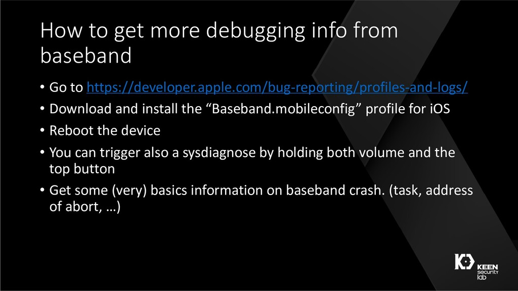 How to get more debugging info from baseband • ...