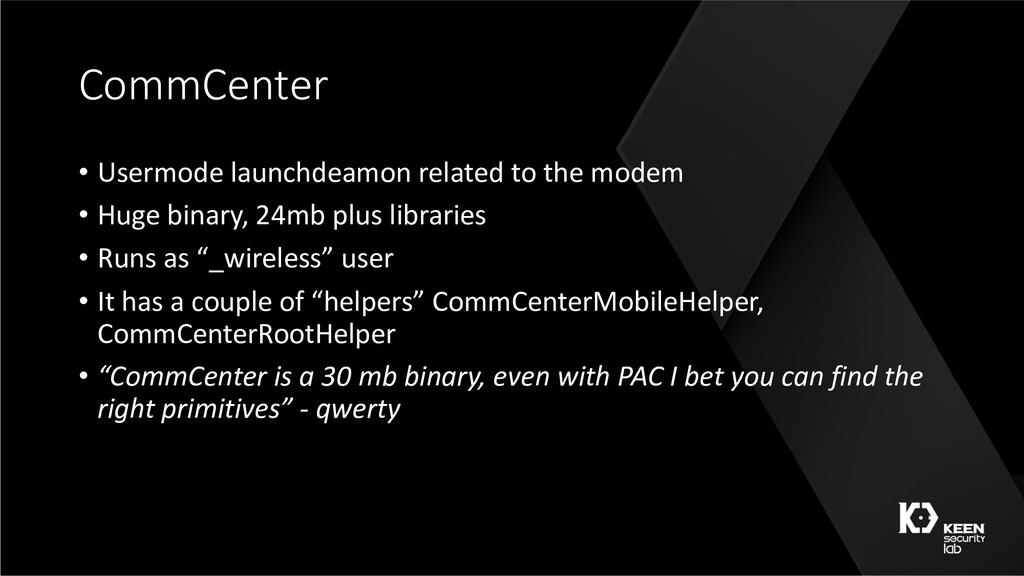 CommCenter • Usermode launchdeamon related to t...