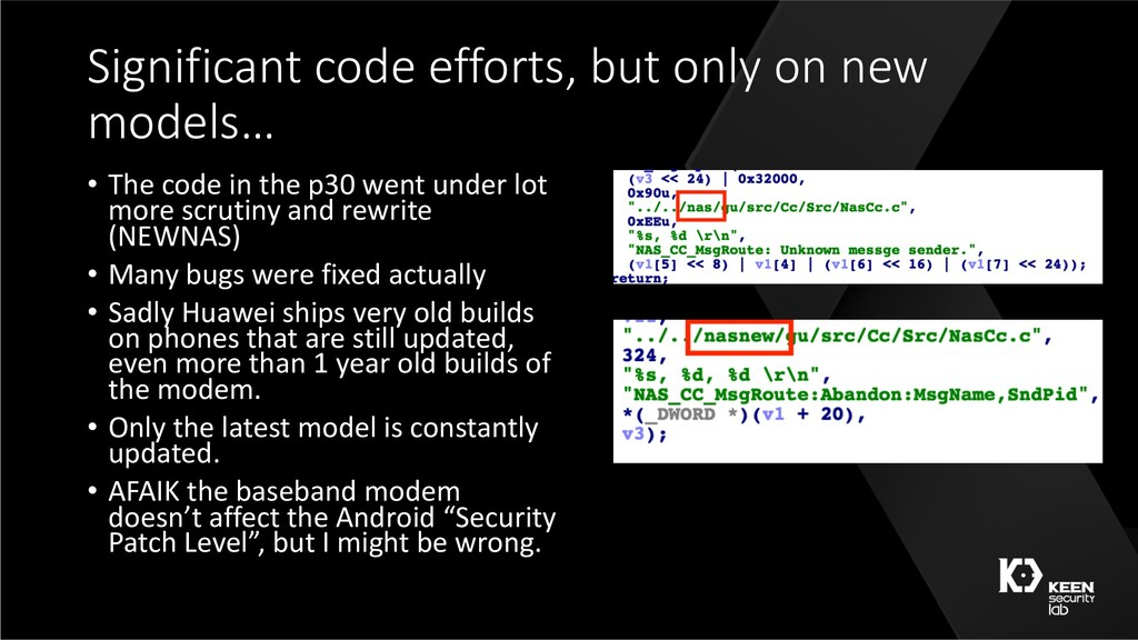 Significant code efforts, but only on new model...