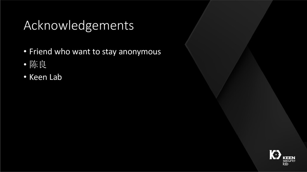 Acknowledgements • Friend who want to stay anon...