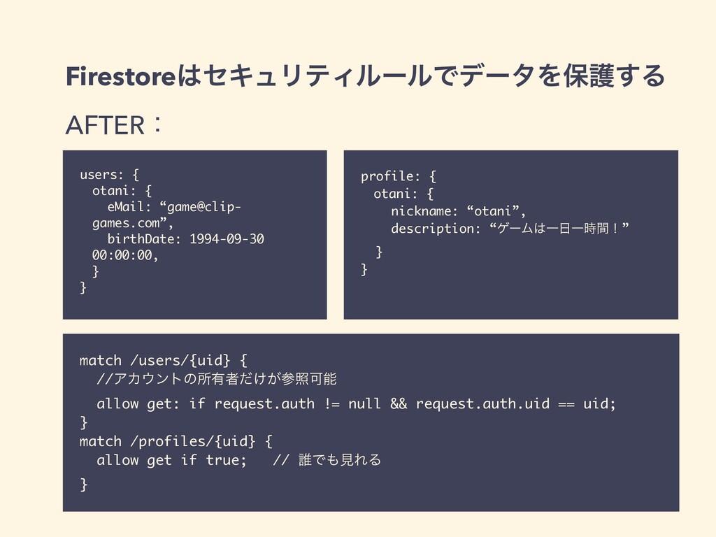 FirestoreηΩϡϦςΟϧʔϧͰσʔλΛอޢ͢Δ   AFTERɿ users: { ...