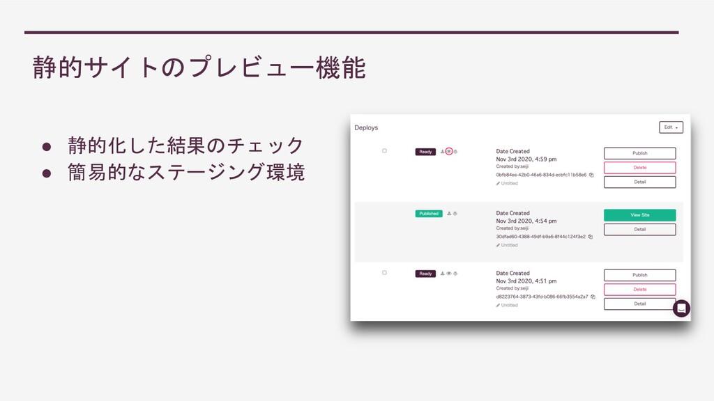 静的サイトのプレビュー機能 ● 静的化した結果のチェック ● 簡易的なステージング環境