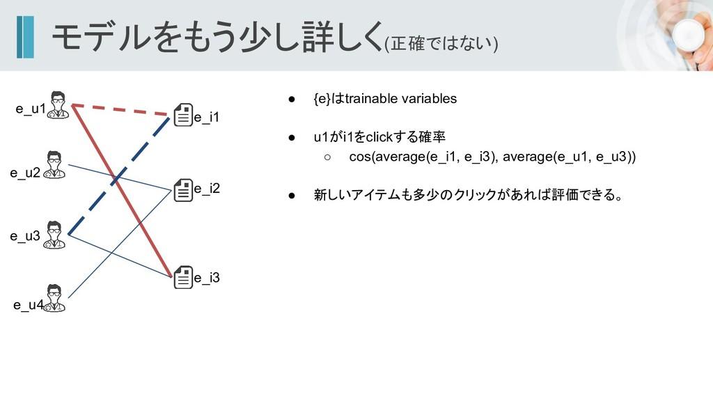 モデルをもう少し詳しく(正確ではない) ● {e}はtrainable variables ●...