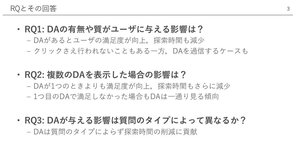 • RQ1: DAの有無や質がユーザに与える影響は? ‒ DAがあるとユーザの満⾜度が向上,探...