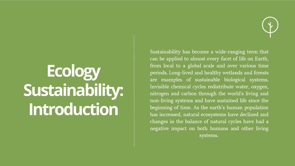 Ecology Sustainability: Introduction Sustainabi...