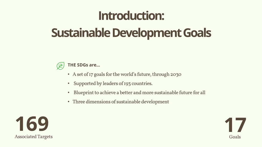 Introduction: Sustainable Development Goals THE...