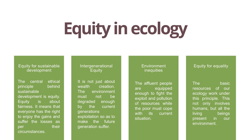 Equity in ecology The central ethical principle...