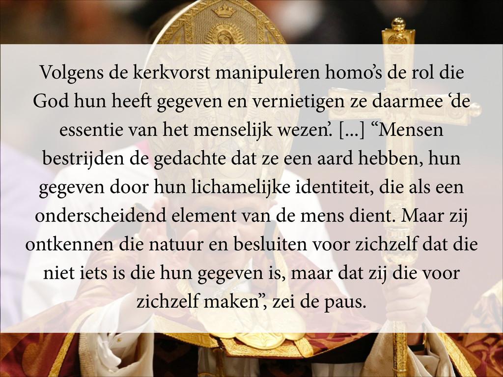 Volgens de kerkvorst manipuleren homo's de rol ...