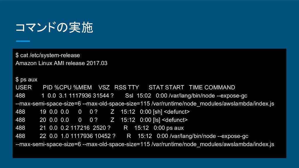 コマンドの実施 $ cat /etc/system-release Amazon Linux ...