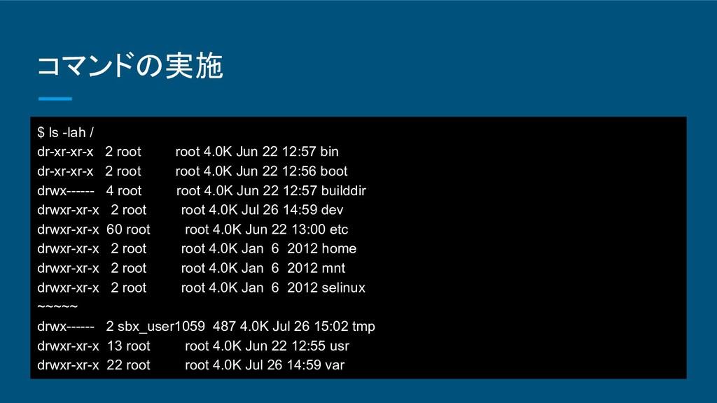 コマンドの実施 $ ls -lah / dr-xr-xr-x 2 root root 4.0K...