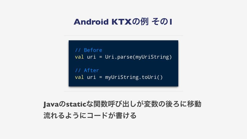 Android KTXͷྫ ͦͷ1 Javaͷstaticͳؔݺͼग़͕͠มͷޙΖʹҠಈ ྲྀ...
