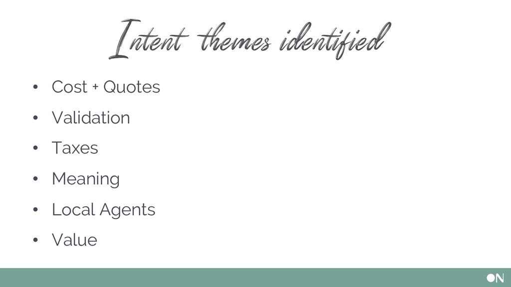 Intent themes identified • Cost + Quotes • Vali...