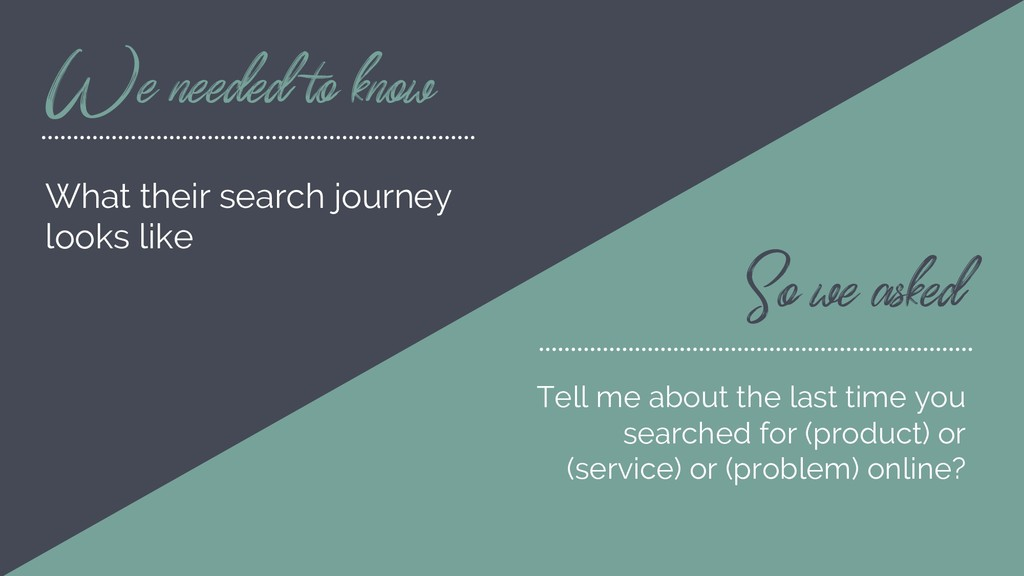 We needed to know What their search journey loo...