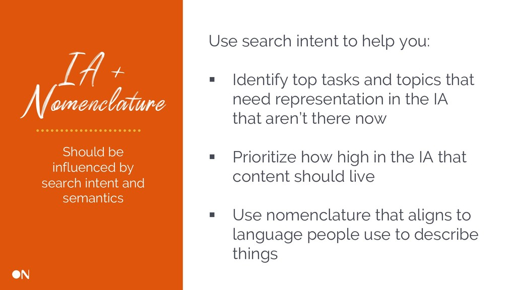 IA + Nomenclature Use search intent to help you...