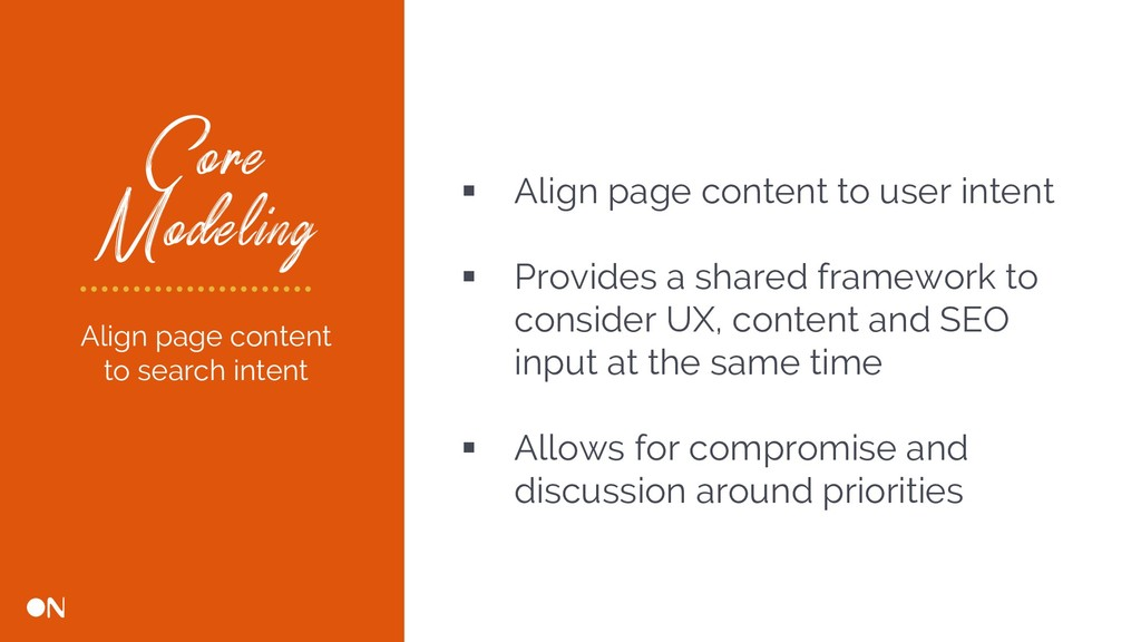 Core Modeling § Align page content to user inte...