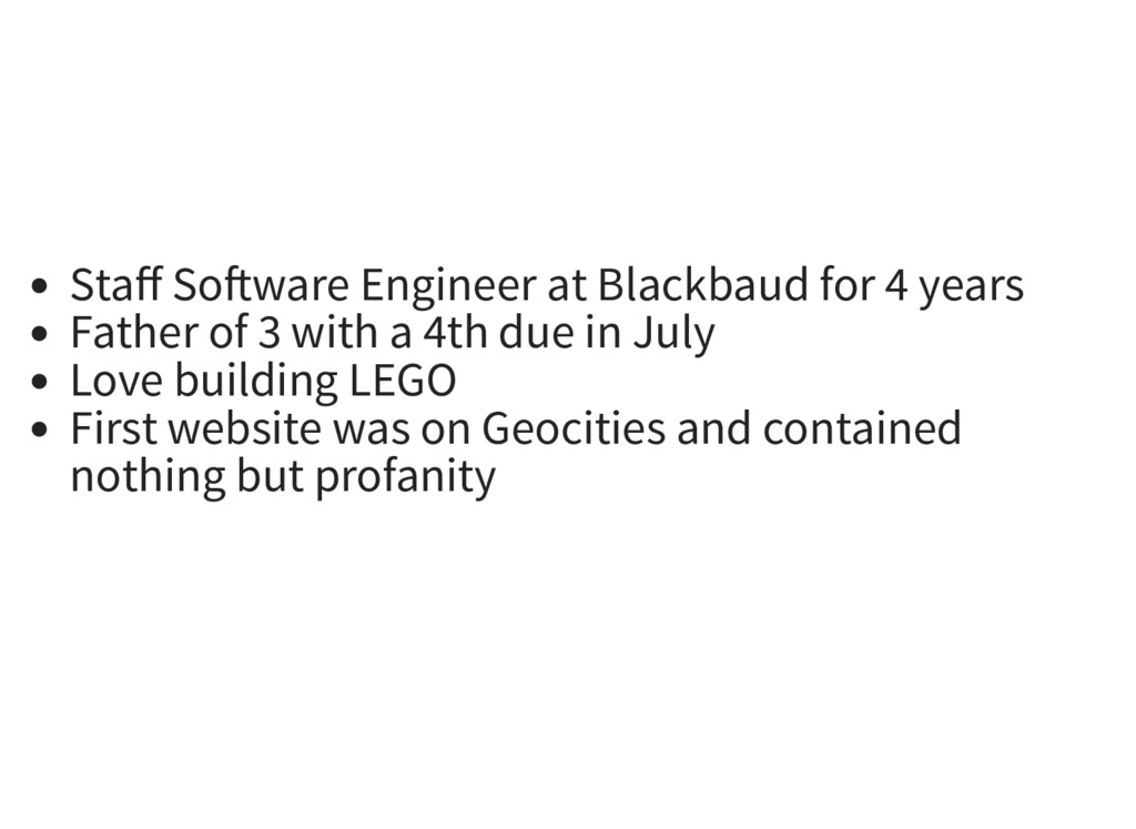 Staff So ware Engineer at Blackbaud for 4 years ...