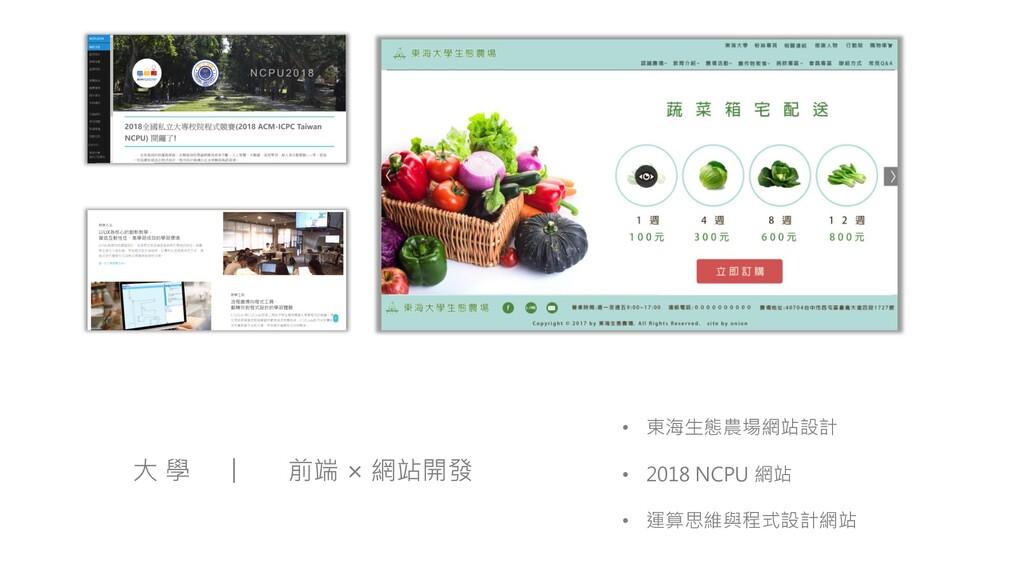 • 東海生態農場網站設計 • 2018 NCPU 網站 • 運算思維與程式設計網站 大 學 前...