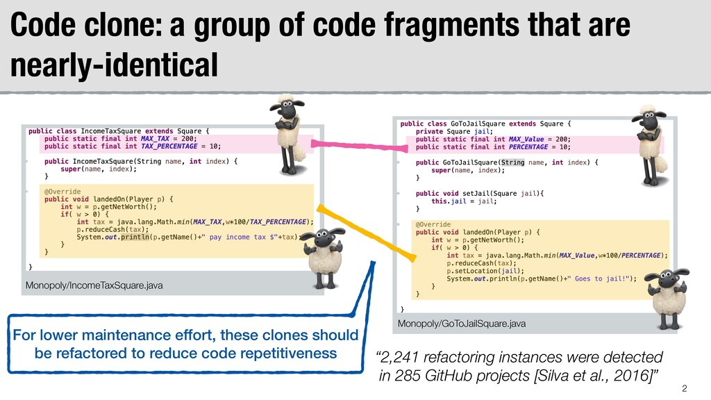 Code clone: a group of code fragments that are ...