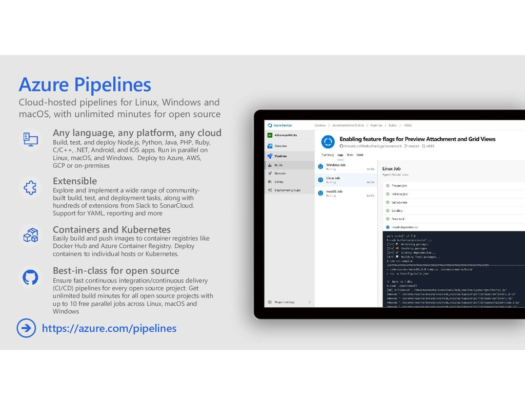Cloud-hosted pipelines for Linux, Windows and m...